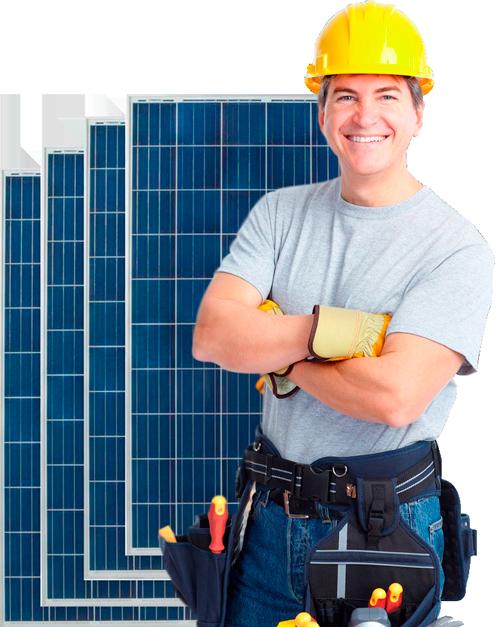 worker solar panel